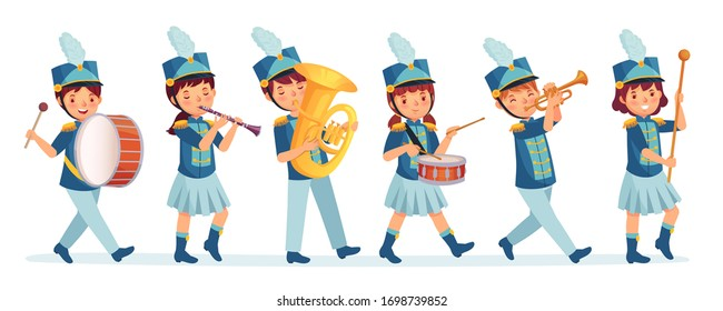 Cartoon kids marching band parade. Child musicians on march, childrens loud playing music instruments cartoon vector illustration. Entertainment parade, performer drum and music band