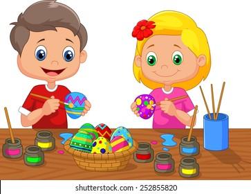 Cartoon kids painting Easter egg