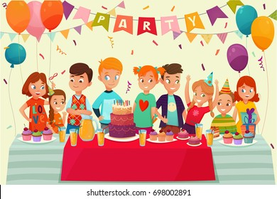 Cartoon Kids Party Poster With Big Table Sweets And Gifts On Birthday Celebration Vector Illustration