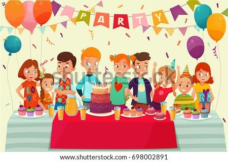 cartoon kids party poster big table のベクター画像素材