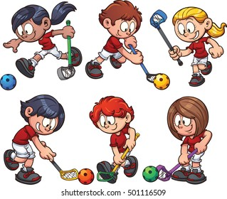 Cartoon kids paying floorball. Vector clip art illustration with simple gradients. Each on a separate layer.