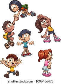 Cartoon kids performing different actions. Vector clip art illustration with simple gradients. Some elements on separate layers.