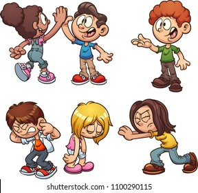 Cartoon kids performing different actions. Vector clip art illustration with simple gradients. Some elements on separate layers