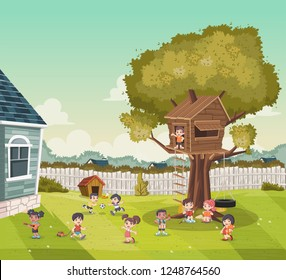 Cartoon kids playing on the backyard of a colorful house in suburb neighborhood. Sports and recreation.