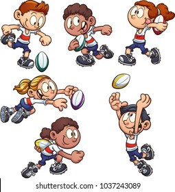 Cartoon kids playing rugby. Vector clip art illustration with simple gradients. Each on a separate layer.