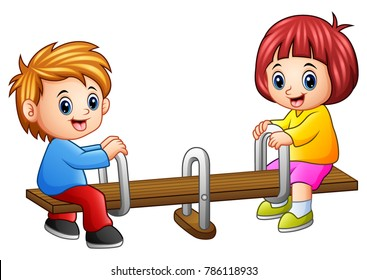 Cartoon kids playing seesaw on white background