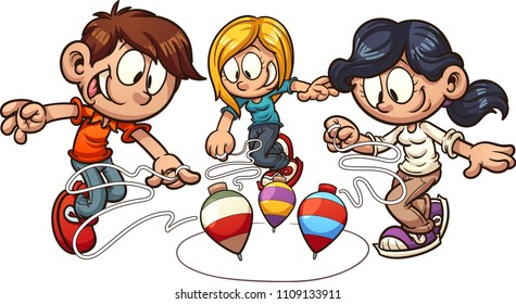 Cartoon kids playing spinning top. Vector clip art illustration with simple gradients. Some elements on separate layers.