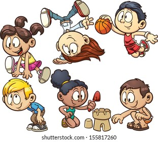 Cartoon kids playing. Vector clip art illustration with simple gradient. Each on a separate layer.