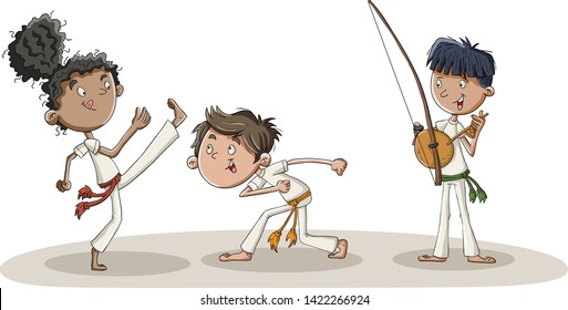 Cartoon kids practicing capoeira movements. Capoeira dancers.