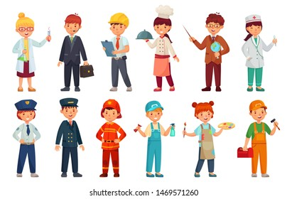 Cartoon kids in professional uniform. Doctor children outfit, businessman kid and baby engineer worker. scientist, policeman and teacher character professions suit. Isolated vector icons set