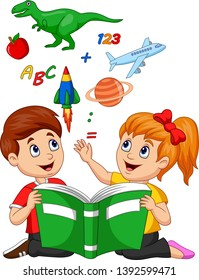 Cartoon kids reading book education concept with apple, dinosaur, planet Saturn, space shuttle and airplane