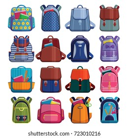 Cartoon kids school bags backpack Back to School rucksack vector set illustration isolated on white