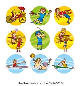Cartoon kids Sport set Vector Clip Art Illustrations