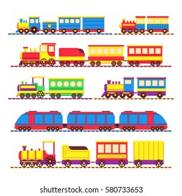 Cartoon kids toy trains, locomotive and wagons vector set. Kids travel color locomotive, toys for transportation illustration