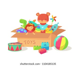 Cartoon kids toys in cardboard toy box. Children holiday gift boxes with child playthings. Plaything vector collection isolated