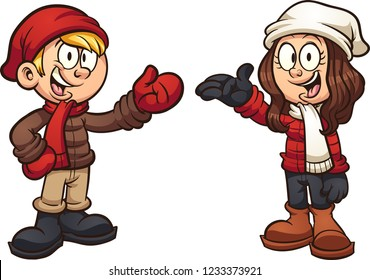 Cartoon kids wearing winter clothes. Vector clip art illustration with simple gradients. Each element on a separate layer.