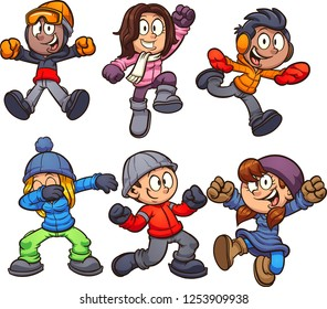 Cartoon kids in winter clothes. Vector clip art illustration with simple gradients. Each on a separate layer.