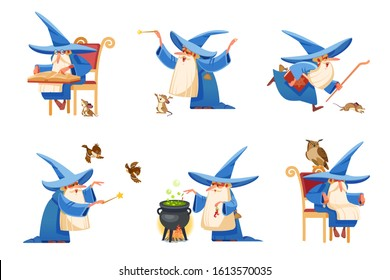 Cartoon kind wizard character. Old witch man in wizards robe, magician warlock and magic medieval sorcerer merlin, male witchcraft in hat and mantle. Cartoon style vector isolated illustration