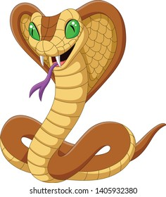 Cartoon king cobra snake on white background