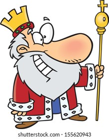 Cartoon king with a crown and scepter