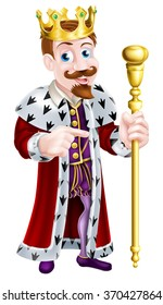 Cartoon king holding a sceptre and giving a thumbs up