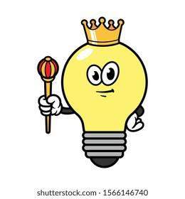 Cartoon King Light Bulb Character Illustration