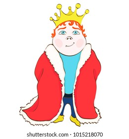 Cartoon king, vector hand drawing. Cute funny drawn prince in the red royal mantle, with red hair, with a crown on his head, isolated on white background