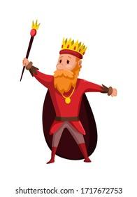 Cartoon king wearing crown and mantle. Cartoon