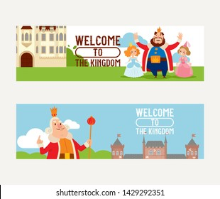 Cartoon kingdom vector king princess character in castle fairytale palace tower backdrop royalty set of medieval building landscape illustration background.