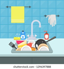 Cartoon Kitchen Sink with Different Kitchenware Include of Dishes, Utensil, Towel and Wash Sponge Flat Design. Vector illustration