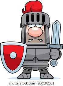 A cartoon knight in armor with sword and shield.
