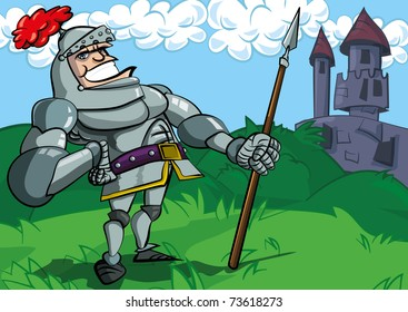 Cartoon knight in armour with a spear. He is in a fiels in front of a castle