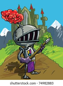 Cartoon knight in armour with a spear. He is in a field in front of a castle