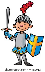 Cartoon knight in armour with a sword. He is isolated on white