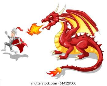 Cartoon knight with fierce dragon. Vector illustration