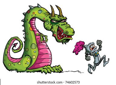 Cartoon of a knight running from a fierce dragon.Isolated on white