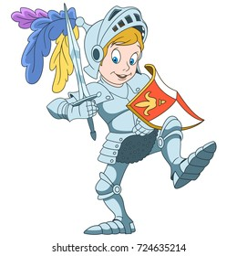 Cartoon knight with shield and sword, isolated on white background. Colorful book page design for kids and children.