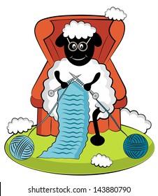 Cartoon knitting sheep