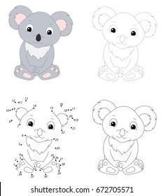 Cartoon koala. Dot to dot educational game for kids