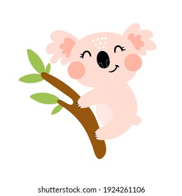 Cartoon koala. Flat vector illustration for kids. animal theme. hand drawn. baby design for cards, prints for t-shirts