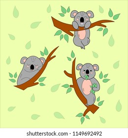 Cartoon koalas on the eucalyptus tree set. Children book. Vector illustration.