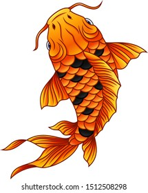 Cartoon koi fish swimming on white background
