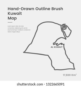 Cartoon Kuwait Map, Hand Drawn Kuwait Map, Doodle Kuwait Map Vector Outline Style Map Information