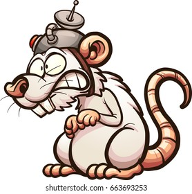 Cartoon laboratory white rat. Vector clip art illustration with simple gradients. All in a single layer.