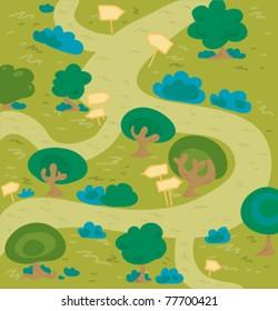 Cartoon labyrinth forest.