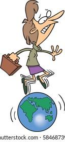 cartoon lady balancing on the earth