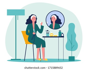 Cartoon lady in front of mirror washing face skin flat vector illustration. Young girl doing morning routine procedures for beauty. Skincare and hygiene concept
