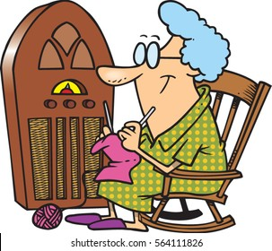 cartoon lady knitting by antique radio