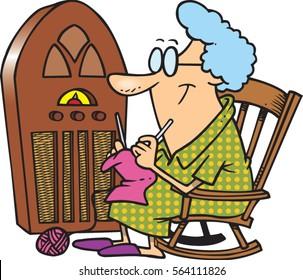 cartoon lady knitting by antique radio