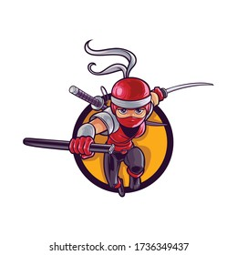 Cartoon Lady Ninja Mascot Logo